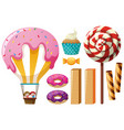 different types of sweets vector image