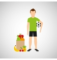 man soccer exercising bag health food vector image