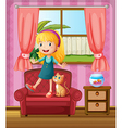A girl and a cat in a sofa vector image vector image