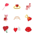 Holiday of all lovers icons set cartoon style vector image