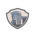 Bulldog Dog Mongrel Padlock Shield vector image
