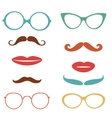 Party set with mustaches lips eyeglasses vector image vector image