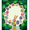 Border design with bunny and easter eggs vector image vector image