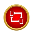 Exchange of data between two phones icon vector image