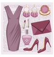 Fashion set with a dress vector image vector image
