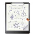 Clipboard with mathematics sketches vector image