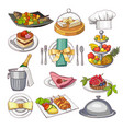 colored of restaurant food set for vector image