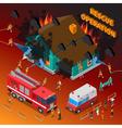 Fireman Isometric Template vector image