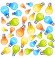 multi-colour light bulbs on white background vector image