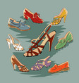 set of retro vintage female shoes vector image