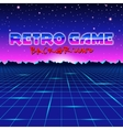 Retro styled futuristic landscape with mountains vector image