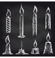 Candles collection on chalkboard vector image