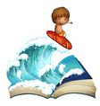 An open book with a boy surfing vector image vector image