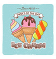 ice cream vintage poster vector image