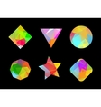 Set of colored geometric polygonal shapes vector image vector image