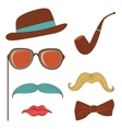 Colorful mustache party elements collection vector image vector image