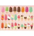 28 delicious glossy tasty ice cream popsicles vector image