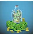 Bank of the glass to hold money and a dollar coin vector image