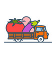 colorful truck with giant vegetables vector image