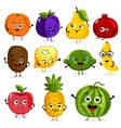 Funny fruit characters cartoon isolated vector image
