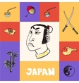Japan Squared Concept with Doodles vector image