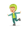 roller skating boy kid in rollerblades colorful vector image