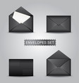 set black envelopes open and closed envelope vector image
