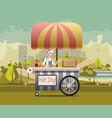 urban kiosk for sale hotdogs vector image