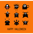 Happy Halloween card Black monster big set Cute vector image
