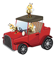 A red car with bees vector image vector image