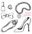 womens accessories set hand drawing vector image