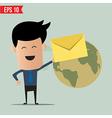 Business man deliver envelope vector image vector image