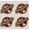 Hot chocolate labels design templates set vector image vector image