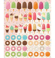 Huge collection of 28 ice creams and 32 donuts vector image