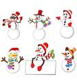 cartoon snowman collection vector image