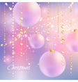 Christmas background with sparkles and balls vector image