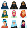 middle eastern female avatars set arabian muslim vector image