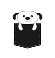 Dog in the pocket Cute cartoon contour character vector image