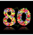 number eighty made from fruits vector image