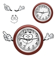 Cartoon wall clock with brown rim vector image