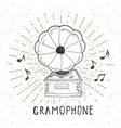 gramophone vintage label hand drawn sketch grunge vector image