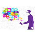 man hold cell smart phone with chat bubble of vector image