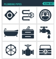Set of modern icons Plumbing pipe vector image