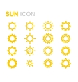 yellow sun icons set vector image