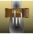 restaurant menu template with forks and a scroll vector image