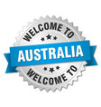 australia 3d silver badge with blue ribbon vector image