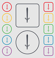 sword icon sign symbol on the Round and square vector image