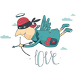 card with cupid and angel love vector image vector image