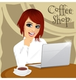 young hipster woman with laptop in coffee shop vector image vector image