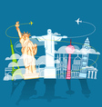 Vacation travelling composition with different vector image